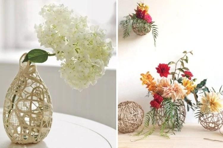 Montagem com duas fotos de vasos de flores