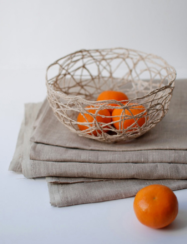 Foto de fruteira artesanal de barbante
