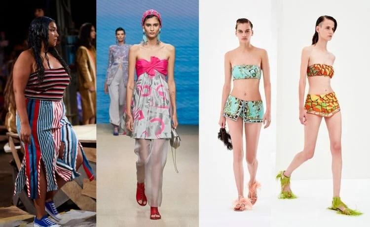 Modelos da semana de moda de Milão vestindo tomara que caia, Marni listrado, vestido Giorgio Armani e tops Pucci.