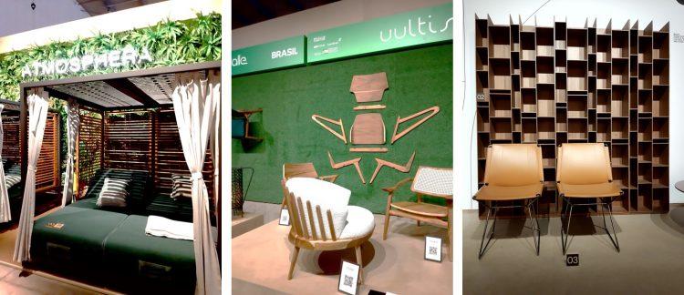 Imagem de um gazebo, cadeiras e estante em estrutura de madeira. Poprostas de Feira de Móveis de Milão 2021