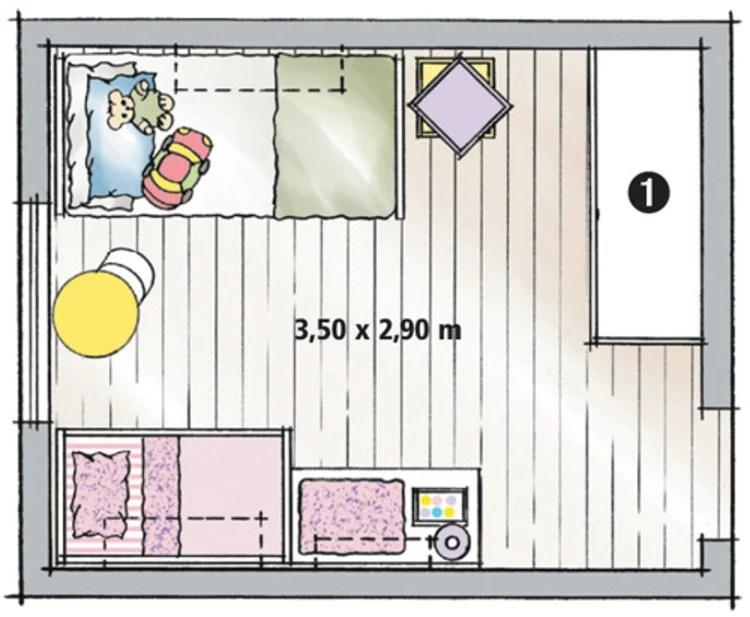 Planta de quarto de área infantil.