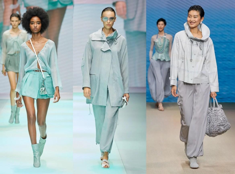 Fotos de modelos desfilando coleção Emporio Armani e Giorgio em tons verde água na semana de Moda de Milão