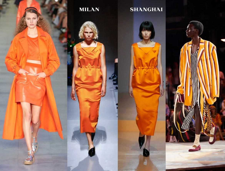 Foto com Look total laranja Max Mara minissaia, top e casaco, vestido Prada e maxi blazer listrado da Marni.