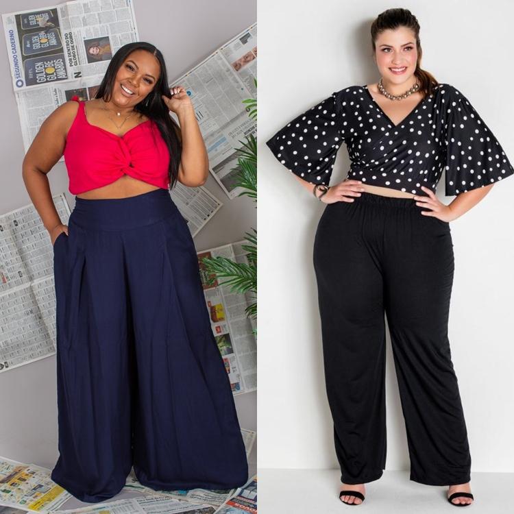 Foto de mulheres com top cropped e calça pantalona.