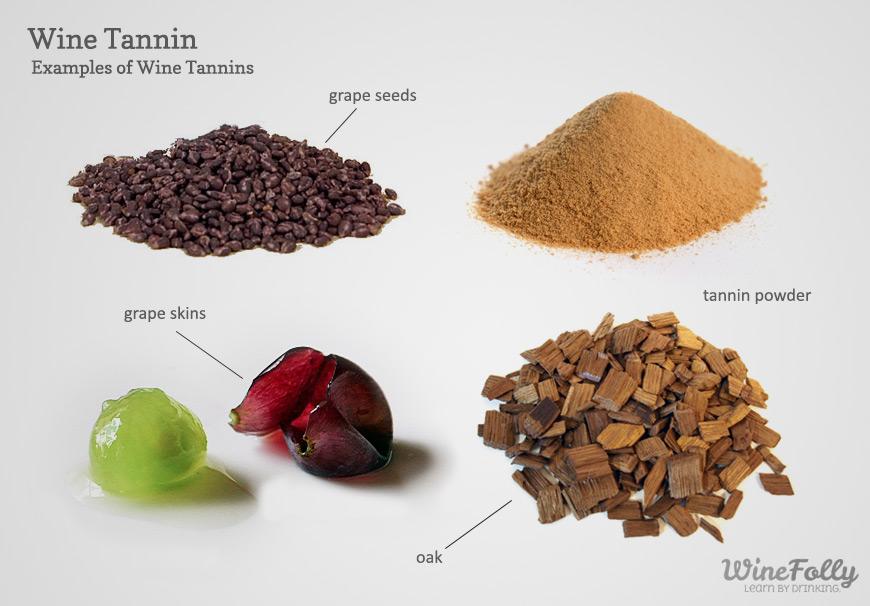 Foto ilustrando a presença dos taninos nas cascas e sementes das uvas, no carvalho das barricas e também em pó.
