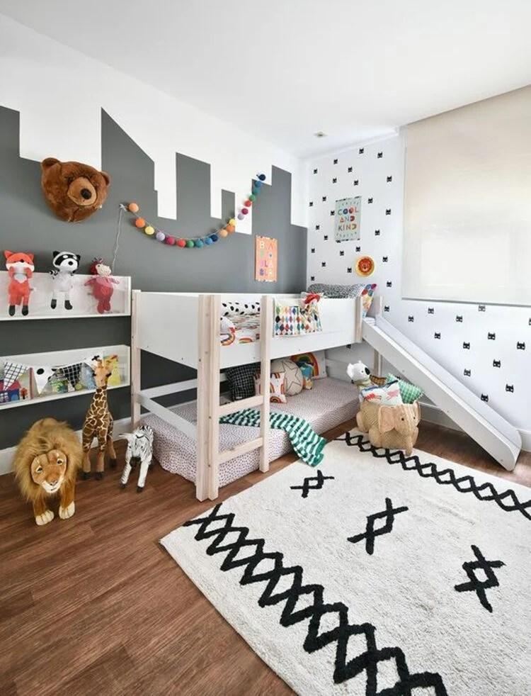 Quarto com decoração unissex em ambientes infantis.