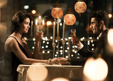 Candle light dinner on birthday couples