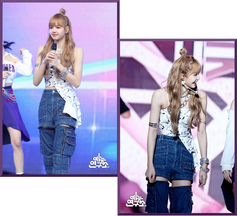 BlackPink Lisa wearing a loose jeans and white top performing at Music Core 2018