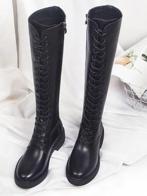 Jisoo Black Lace Boots (12)