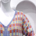 Multicolored Checkered Cardigan | Hyuna