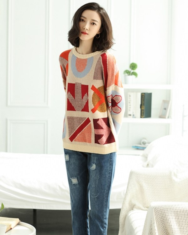 Patterned Wool Sweater | Jennie – Blackpink