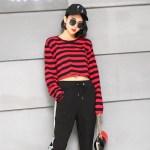 Red Black Striped Sweatshirt | Lisa – BlackPink