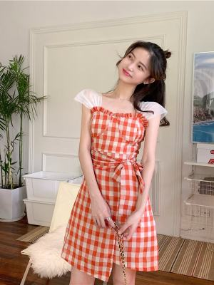 Lisa Cute Red Checkered Dress (8)