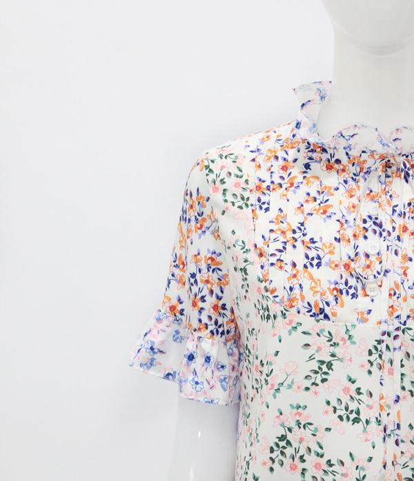 Colorful Floral High Collar Dress | Hyuna