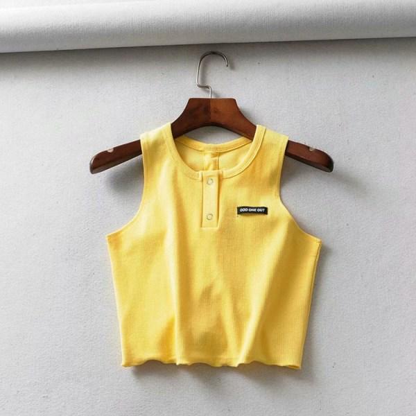 Yellow Sleeveless Crop Top | Hyuna