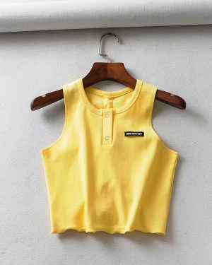 Hyuna Yellow Sleeveless Crop Top (7)