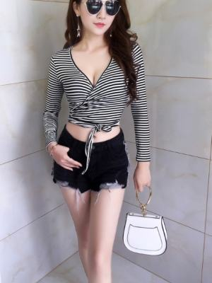 Jennie Striped Crop Lace Top (3)
