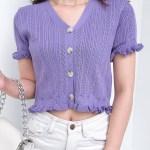 V-Neck Crop Knit Top | Jennie – BlackPink