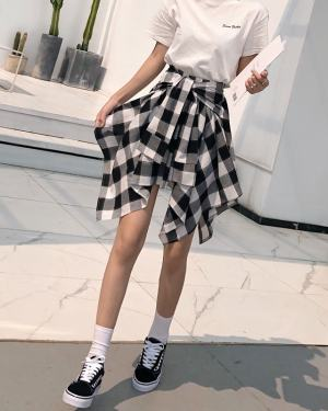 Irene Black & White Plaid Tie Skirt (2)