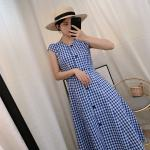 Blue Plaid Long Dress | Jennie – BlackPink