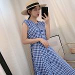Blue Plaid Long Dress | Jennie – BlackPink