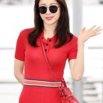Color Block Waist Band Slim Long Dress | Joy – Red Velvet