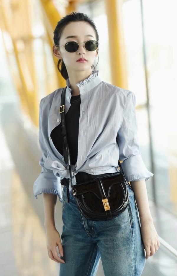 Blue Ruffled Neck Shirt | Lisa – BlackPink