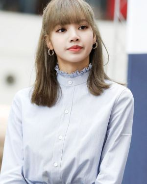 Blue Ruffled Neck Shirt | Lisa – BlackPink