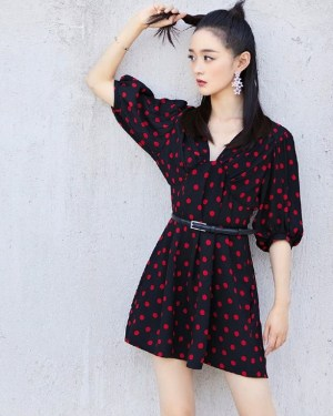 Lisa V-Neck Red Polka Dots Dress (15)