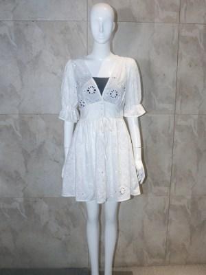 Lisa White Embroidery V-Neck Dress (1)
