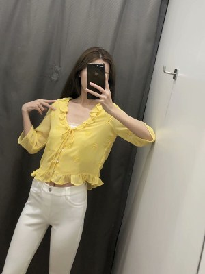 Sana Yellow Openwork Embroidery Blouse (10)