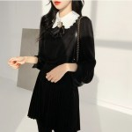 White Doll Collar Black Shirt With Brooch | Seulgi – Red Velvet
