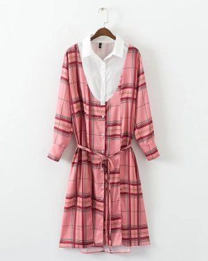 Shuhua Pink Plaid Shirt Dress (1)