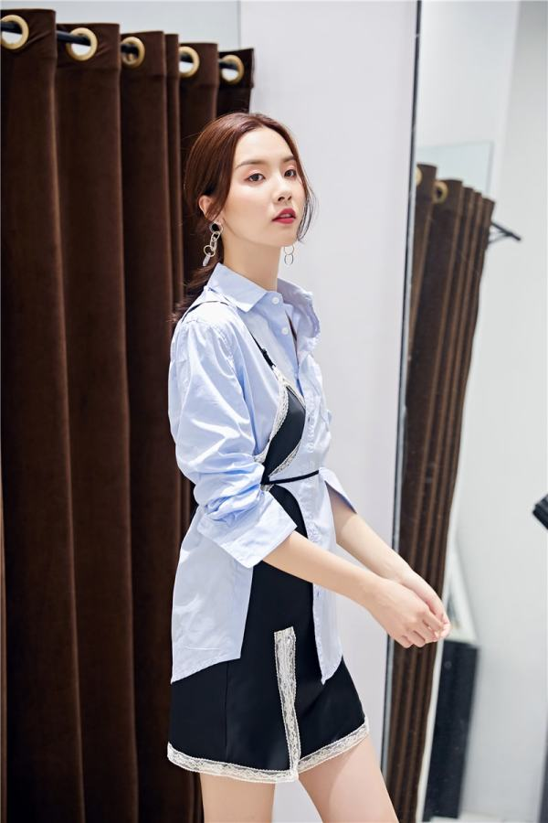 Blue Polo Shirt & Lace Assymetric Dress | Soojin – (G)I-DLE