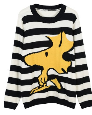 Jaemin Snoopy Black & White Stripes Sweater (1)