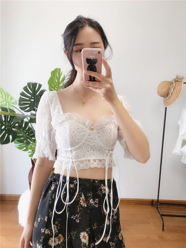White Lace Crop Top | Joy – Red Velvet
