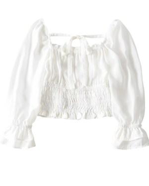 Lisa Square Collar Ribbon Stretch Blouse (11)