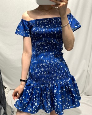 Flower Print Blue Dress | Mina – Twice