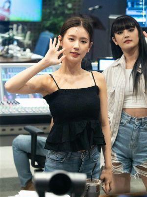 Black Sling Ruffled Camisole | Miyeon – (G)I-DLE