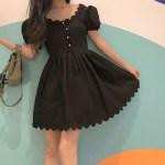 Black U-Neck French Dress | Nayeon – Twice