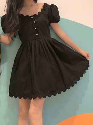 Nayeon Black U-neck French Dress (3)