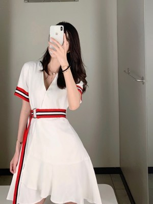 Nayeon Striped Tie Waist White Dress (9)