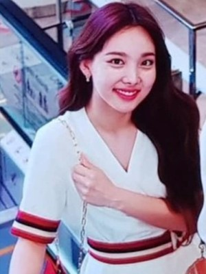 Striped Tie Waist White Dress | Nayeon – Twice