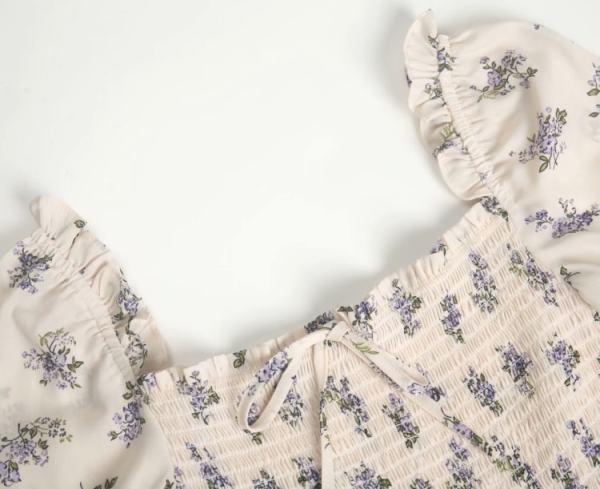 Lilac Flowers Puff Sleeve Dress | Rose – BlackPink