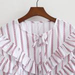 Red Striped Ruffled Loose Blouse | Shuhua – (G)I-DLE