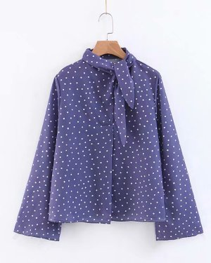 Dahyun Long Sleeve Tie Neck Lilac Blouse (8)
