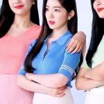 Blue Polo Collared Short Sleeved Striped T-Shirt | Irene – Red Velvet