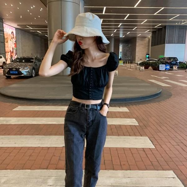 Puff Sleeves Black Crop Top | Joy – Red Velvet