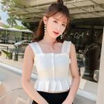 White Wide Strap Ruffled Crop Camisole   Lia – ITZY