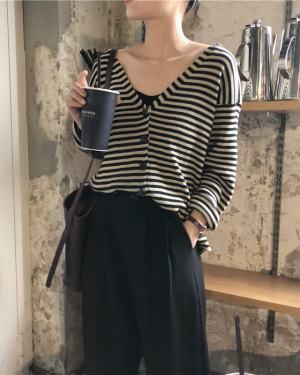 Nayeon V-Neck Striped Knit Cardigan (1)